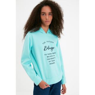 Trendyol Blue Embroidered Basic Hoodie Slim Knitted Sweatshirt dámské Other XL