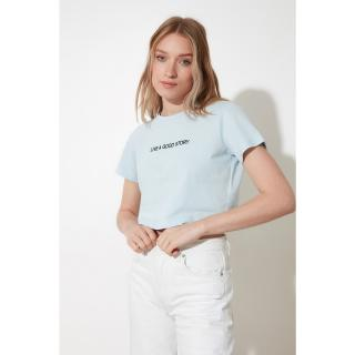 Trendyol Blue Embroidered Crop Knitted T-Shirt dámské Navy S