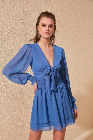 Trendyol Blue Fastening Detailed Dress dámské Navy 34