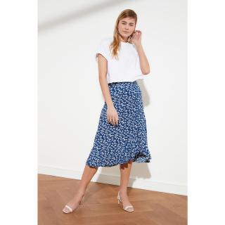 Trendyol Blue Floral Pattern knitted skirt dámské Navy S