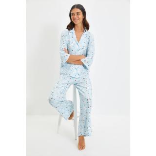 Trendyol Blue Floral Viscose Woven Pajamas Set dámské Other 44