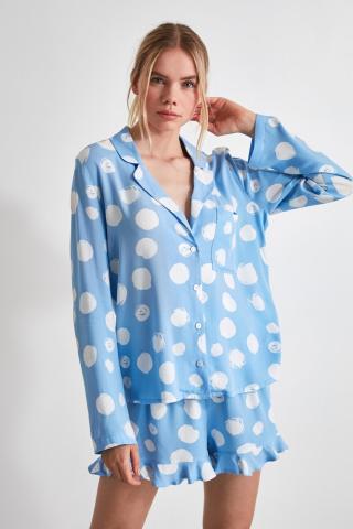 Trendyol Blue Frilled Woven Pyjama Set dámské Navy 34