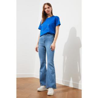 Trendyol Blue High Waist Flare Jeans dámské Navy 34