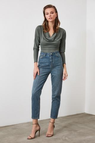 Trendyol Blue High Waist Mom Jeans dámské Navy 34