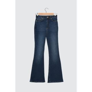 Trendyol Blue High Waist Petit Flare Jeans dámské Navy 34