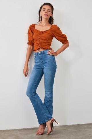 Trendyol Blue High Waist Push Up Flare Jeans dámské Navy 40
