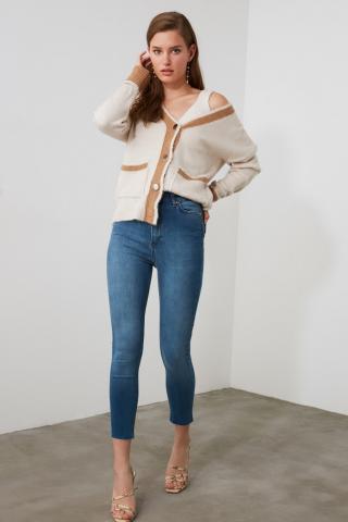 Trendyol Blue High Waist Skinny Jeans dámské Navy 38