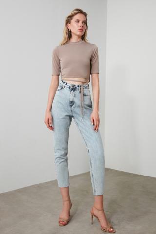 Trendyol Blue Legs High Waist Mom Jeans dámské Navy 38