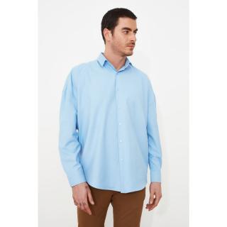 Trendyol Blue Male Oversize Fit Basic Shirt Collar Shirt Navy S