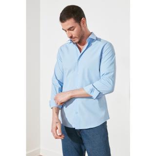 Trendyol Blue Male Slim Fit Basic Shirt Collar Shirt Navy S