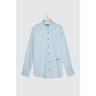 Trendyol Blue Male Slim Fit Shirt Collar Feel Good Embroidered Shirt Navy S
