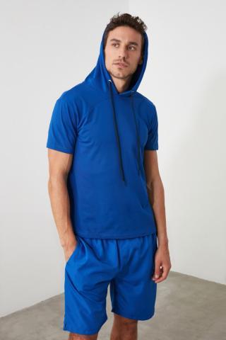 Trendyol Blue Men Hooded Sports T-Shirt pánské Navy M