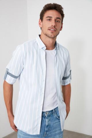 Trendyol Blue Men Striped Slim Fit Shirt pánské Navy M