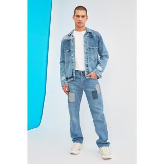 Trendyol Blue Mens Patched Regular Fit Jeans pánské Navy 34