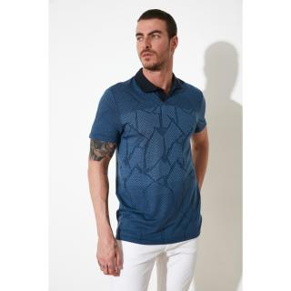 Trendyol Blue Mens Polo Neck T-shirt pánské Navy S