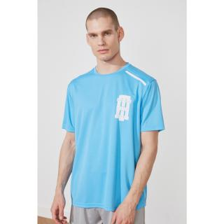 Trendyol Blue Mens Regular Fit Bike Collar Short Sleeve T-Shirt pánské Navy S