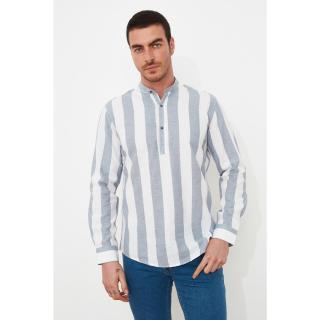 Trendyol Blue Mens Regular Fit Judge Collar Striped Half-Pat Linen Shirt pánské Navy S