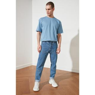 Trendyol Blue Mens Relax Fit Jeans pánské Navy 34