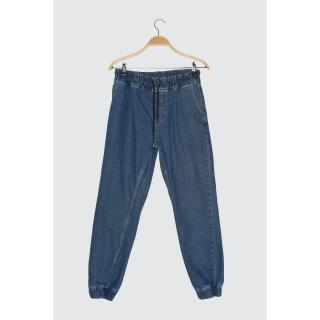 Trendyol Blue Mens Relax Fit Jogger Jeans pánské Navy 34