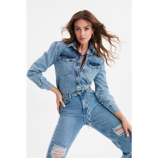 Trendyol Blue Padded Denim Shirt dámské 34