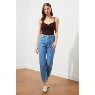 Trendyol Blue Pocket Detail High Waist Mom Jeans dámské Navy 36