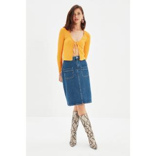 Trendyol Blue Pocket Detailed Midi Denim Skirt dámské Other 34