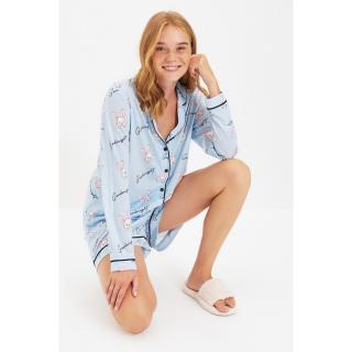 Trendyol Blue Printed Knitted Pajamas Set dámské Other S