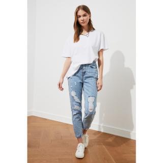 Trendyol Blue Ripped High Waist Mom Jeans dámské Indigo 34