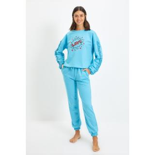 Trendyol Blue Ruffle Detailed Printed Knitted Pajamas Set dámské Other S