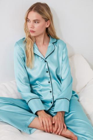 Trendyol Blue Satin Pyjama Set dámské Navy 34