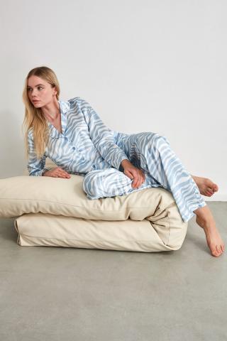 Trendyol Blue Satin Woven Pyjama Set dámské Navy 34