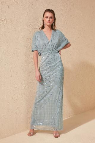Trendyol Blue Sequins Detailed Dress dámské Navy 34
