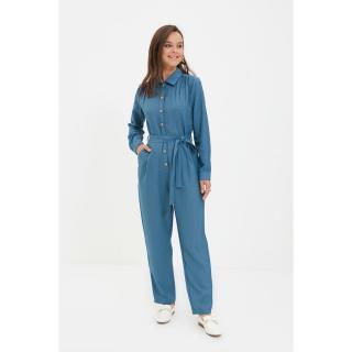 Trendyol Blue Shirt Collar Buttoned Jumpsuit dámské Other 36