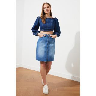 Trendyol Blue Skirt Tip Cut Denim Skirt dámské Navy 34