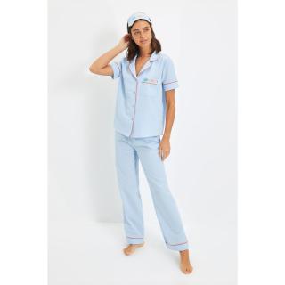 Trendyol Blue Sleep Band Woven Pajamas Set dámské Other 44