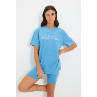 Trendyol Blue Slogan Printed Knitted Pajamas Set dámské Other L