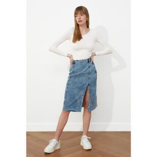 Trendyol Blue Squirt Midi Denim Skirt dámské Navy 34