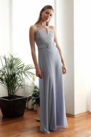 Trendyol Blue Strap Evening Dress & Graduation Dress dámské Navy 34