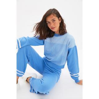 Trendyol Blue Striped Knitwear Bottom-Top Set dámské Other S