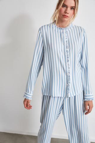 Trendyol Blue Striped Woven Pyjama Set dámské Navy 34