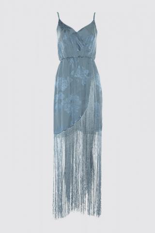 Trendyol Blue Tassel Detail Jacquard Satin Dress dámské Navy 34