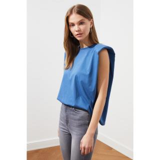 Trendyol Blue Vatka Knitted T-Shirt dámské Navy XS