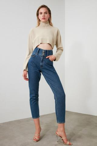 Trendyol Blue Waist Detailed Super High Waist Mom Jeans dámské Navy 34