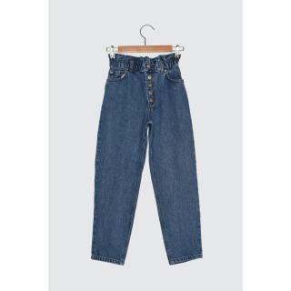 Trendyol Blue Waist Ruffle High Waist Petit Relaxed Mom Jeans WITH Front Button dámské Navy 34
