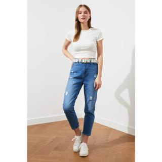 Trendyol Blue Wear High Waist Mom Jeans dámské Navy 34