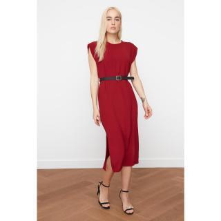 Trendyol Bordeaux BeltEd Vatka Dress dámské Burgundy 34