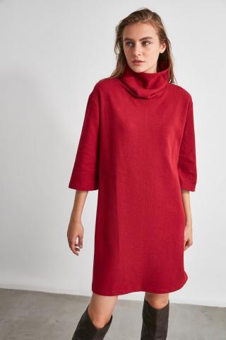 Trendyol Bordeaux Thessaloniki Knitting Dress dámské Burgundy S