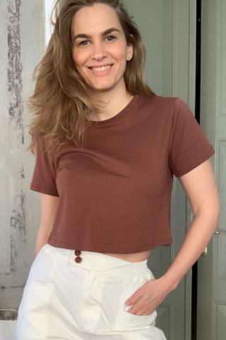 Trendyol Brown 100% Cotton Bike Collar Crop Knitted T-Shirt dámské XS