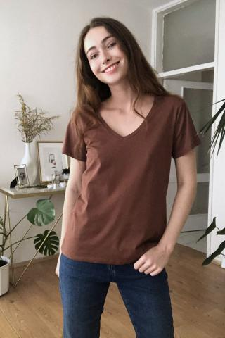 Trendyol Brown 100% Cotton V Collar Basic Knitted T-Shirt dámské XS