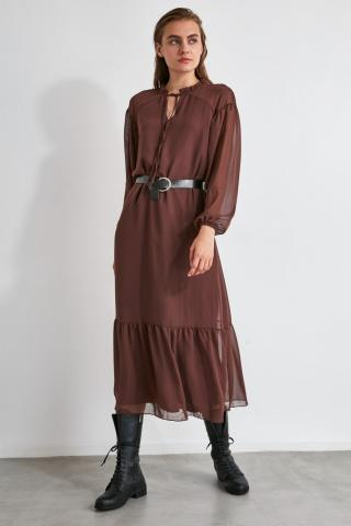 Trendyol Brown Arched Dress dámské 34